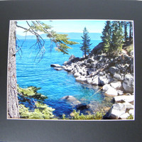 "Blue Wall Decor for Home or Office,  Photographic Art, 8"" x 10"" signed, 11"" x 14"" black mat, frame-ready"