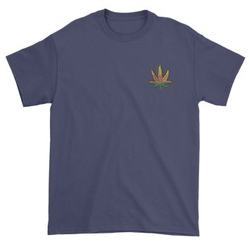 Embroidered Rasta Pot Leaf Patch (Pocket Print) Mens T-shirt