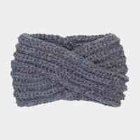 Women's Dark Grey Soft Knit Twist Ear Warmer Headband Head Wrap  Winter Accessories Headbands