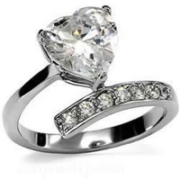 Heart's Promise - FINAL SALE Cubic Zirconia's Heart Adorable Design Stainless Steel Engagement Ring
