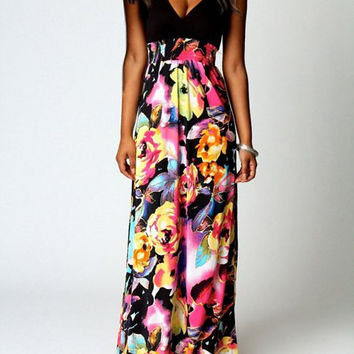 Sleeveless Spliced Yellow Floral Printed Dress