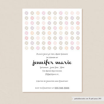Besos Pink  Printable Invitation 5 x 7 Card by gabipress on Etsy