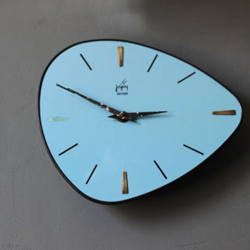 Vintage Mid Century / Retro 60's French Japy Blue Wall Clock