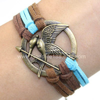 Mockingjay inspired unique Bracelet , antique bronze The hunger game style pendant & colorful rope chain