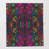 Psychedelic Illusions Intense Colors Pattern Throw Blanket by Zurine