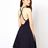 Warehouse Skater Dress With Cross Back at asos.com