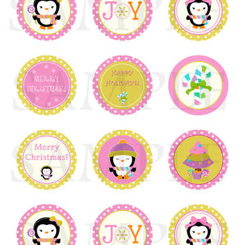 Christmas tag. Christmas cupcake toppers. Christmas tags, stickers, labels, envelope seals. 2'' circles. Digital file.