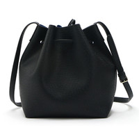 Black Drawstring Faux Bucket Bag
