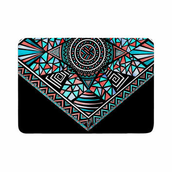 "Pom Graphic Design ""Geo Glass"" Teal Black Memory Foam Bath Mat"