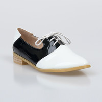 1950s Style Black & White Patent Montecinisio Saddle Shoes