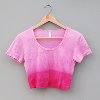 Reworked American Apparel Dip Dye Pink Crop Top