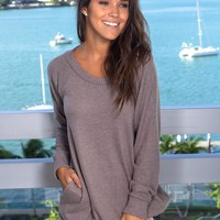 Taupe Oversized Top with Pockets
