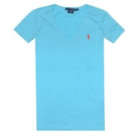 Ralph Lauren Sport Women Lightweight V-Neck T-Shirt (M, True aqua)