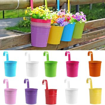 1PC Newest Garden Decoration Supplies Iron Pastoral Balcony Pots Planters Wall Hanging Metal Bucket Flower Holder new arrival