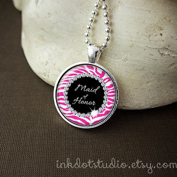 Hot Pink Zebra Print Maid of Honor Necklace, Hot Pink and White Wedding, Zebra Print Bachelorette Party Necklace, Bridal Party Pendant