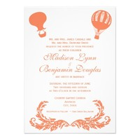 Vintage Hot Air Balloon Wedding Invitations Coral