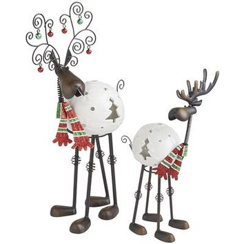 Bobblehead Reindeer Tealight Holders