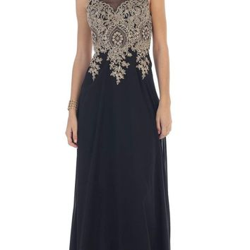 May Queen - Embellished Illusion Scoop A-line Prom Dress