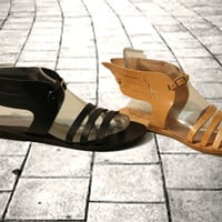 Women sandals in tan, black, gold, Greek wing leather sandals, hermes sandals, goddess sandals, authentic leather sandals, women shoes