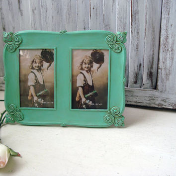 Antique Aqua Ornate Double Frame, Patina, Shabby Chic Distressed Metal Frame, Teal Picture Frame, 3 1/2 x 5 Double Frame with Glass/Backing