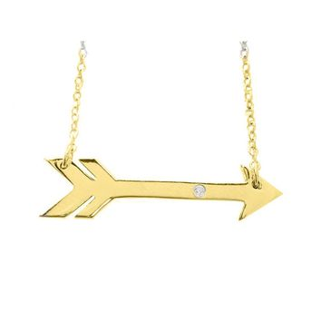 Sideways Golden Arrow Necklace