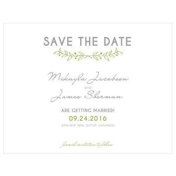 Woodland Pretty Save The Date Card Grass Green (Pack of 1)