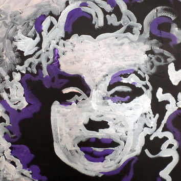 Expressionist Pop Art - Original Painting of Marilyn Monroe - Norma Jean - Acrylic Painting on Canvas - Small Painting - Home Wall Art Decor