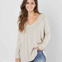 Gilded Intent Brushed V-Neck Top - Women's Shirts/Blouses in Heather Oatmeal | Buckle