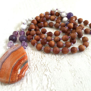 Sandalwood And Agate Mala Beads, Colorful Mala Necklace, Gemstone Yoga Jewelry, Beaded Mala, Spiritual Mala Necklace, 108 Beaded Mala