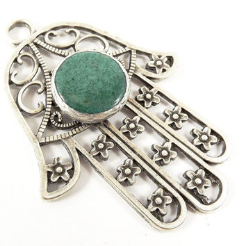 Extra Large Hamsa Hand of Fatima Pendant Green Jade - Matte Antique Silver Plated - 1PC
