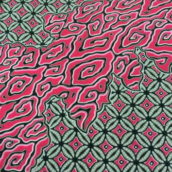 Kenyan Fabric--African Wax Print Fabric--Java Print Fabric--Pink and Gray Swirl Print Fabric--African Fabric by the HALF YARD