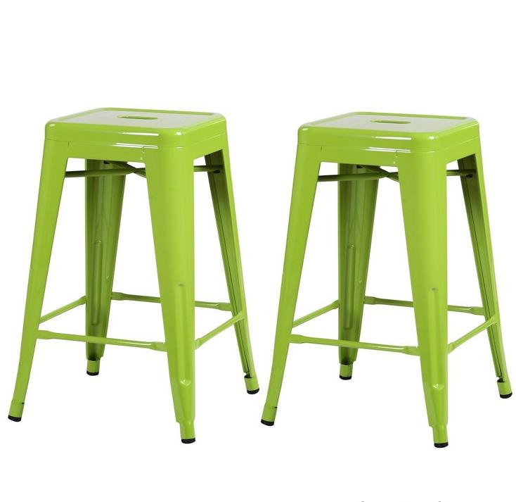 Lime Green Metal Industrial Backless From Your Bar Stool Store