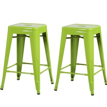 Lime Green Metal Industrial Backless Counter Stool Set of 2