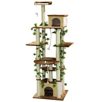 Beige 85-inch Cat Tree and Feeder Condo