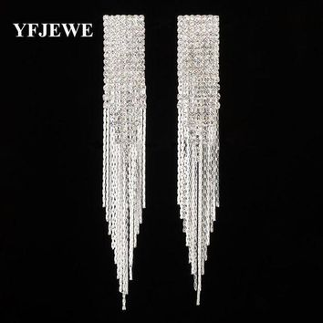 ac spbest YFJEWE New Classic Jewelry Exaggerated Full Crystal Long Drop Earring Statement Tassel Chain Earrings Gift For Women #E440