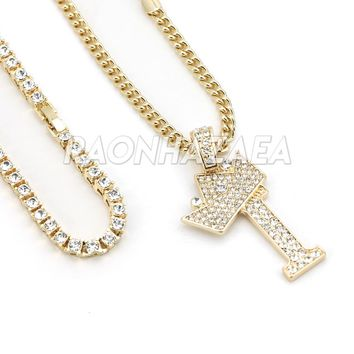 Iced Out Crown I Initial Pendant Necklace Set