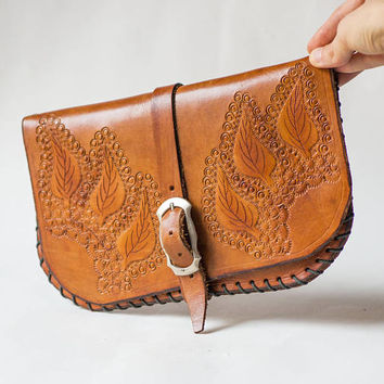 Hand tooled leather clutch bag purse tan. Vintage genuine leather purse. Leaves pattern pouch retro. Clutch fashionista autumn bag wallet