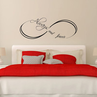 Love Infinity Symbol Wall Decals Always and Forever Vinyl Stickers Bedroom Decal Home Bedroom Decor Wedding Gift T138