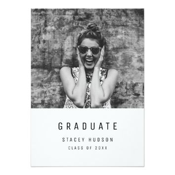 Minimalist, modern photo graduation invitation