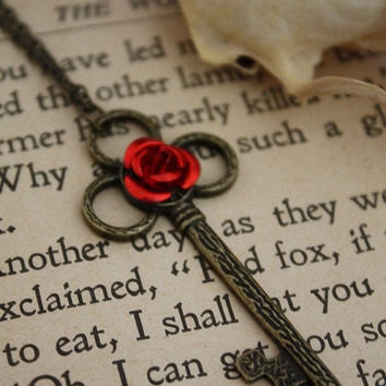 ON SALE Beauty and the Beast Key Necklace