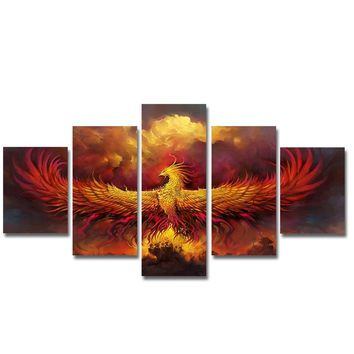 5pcs Red Phoenix Unframed Wall Painting Print On Canvas Wall Art Picture Home Decoration