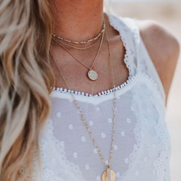 Sofia Layered Stone Necklace - Gold