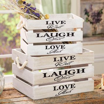 Set of 2 Storage Crates Live Laugh Love Sentiment Rope Handles Country Decor
