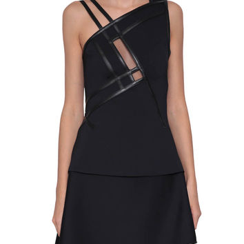 David Koma One-shoulder top with leather inserts