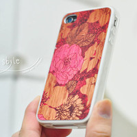 Apple iphone  case for iphone  iphone 4  iphone 4s : Abstract Pink flower blend with wood background