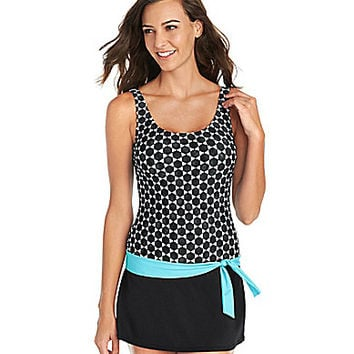 Jag Mykonos Dot-Print Swimdress - Black
