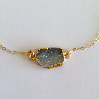 "Obsessed Ombre Charcoal Druzy ""Unity"" Connector Bracelet"