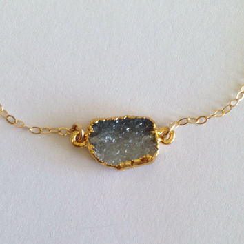 """Obsessed Ombre Charcoal Druzy """"Unity"""" Connector Bracelet"""