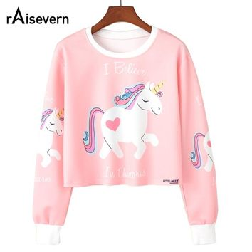 New Women Crop Tops Sexy Short Style Unicorn/Flamingo/Donut Printing Graffiti Dazzle Color Women's Thin Casual Sweatshirts