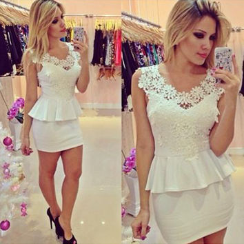 OL Lace Splicing Package Hip Short Dress